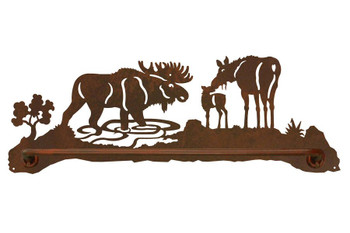 "27"" Moose Family Metal Towel Bar"