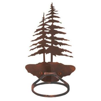 Double Pine Trees Metal Bath Towel Ring