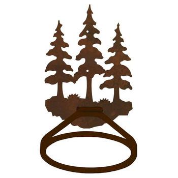 Triple Pine Trees Metal Bath Towel Ring