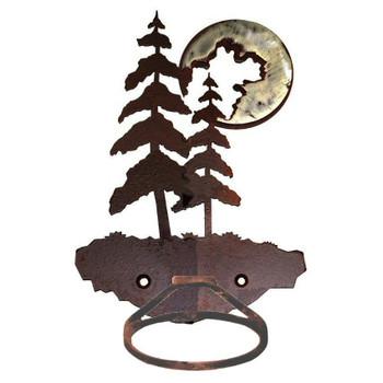 Burnished Pine Trees Metal Bath Towel Ring