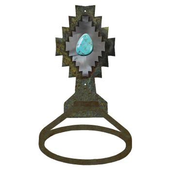 Burnished Desert Diamond with Turquoise Stone Metal Bath Towel Ring