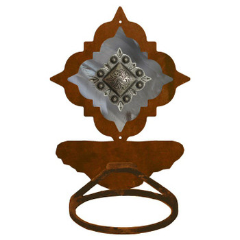 Burnished Diamond Old Silver Berry Concho Metal Bath Towel Ring