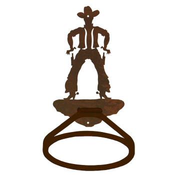 Cowboy Drawing Pistol Metal Bath Towel Ring