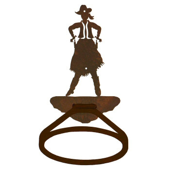 Cowgirl Drawing Pistol Metal Bath Towel Ring
