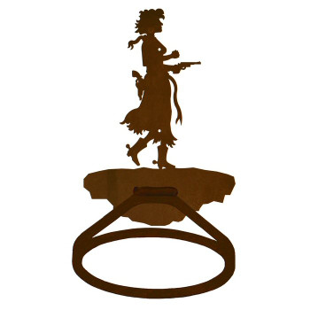 Cowgirl with Pistol Metal Bath Towel Ring
