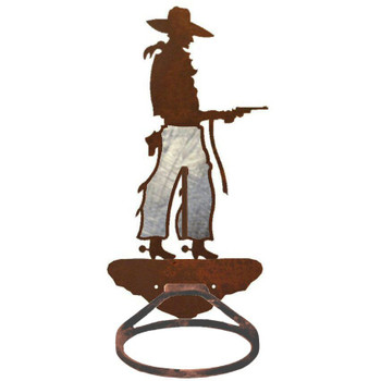 Burnished Cowboy with Pistol Metal Bath Towel Ring