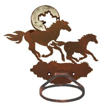 Burnished Running Horses Metal Bath Towel Ring