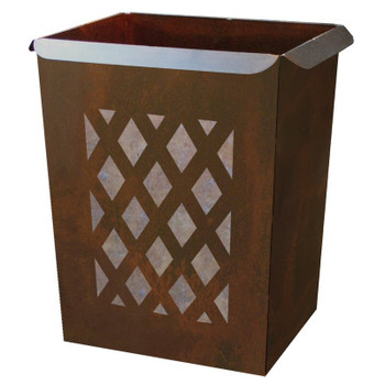 Lattice Metal Wastebasket Trash Can
