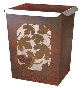 Maple Leaf Metal Wastebasket Trash Can