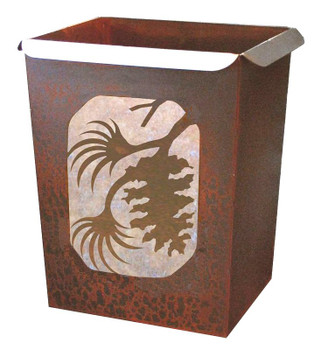 Pine Cone Metal Wastebasket Trash Can