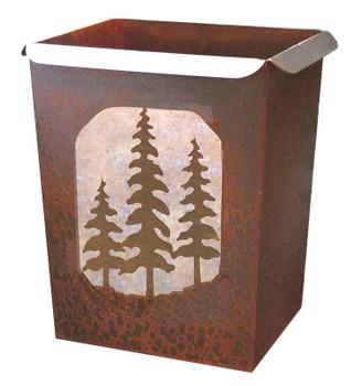 Pine Trees Metal Wastebasket Trash Can