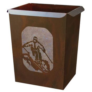 Skier Metal Wastebasket Trash Can