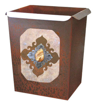 Picture Jasper Stone Metal Wastebasket Trash Can