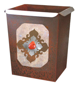 Red Jasper Stone Metal Wastebasket Trash Can