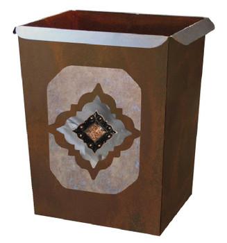Diamond Copper Concho Metal Wastebasket Trash Can