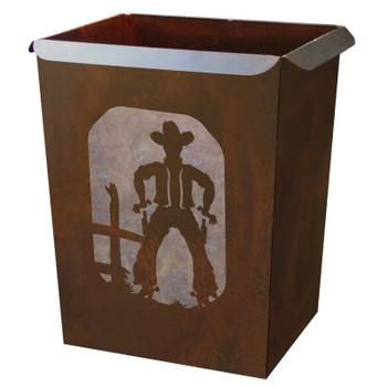 Cowboy Metal Wastebasket Trash Can