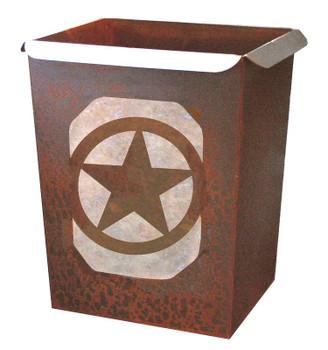 Texas Star Metal Wastebasket Trash Can