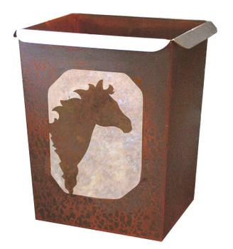 Wild Horse Metal Wastebasket Trash Can