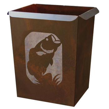 Bass Fish Metal Wastebasket Trash Can