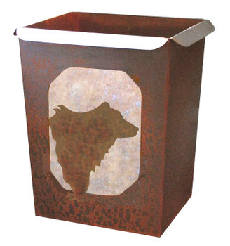 Bear Metal Wastebasket Trash Can