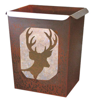 Deer Metal Wastebasket Trash Can