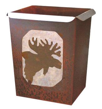 Moose Metal Wastebasket Trash Can