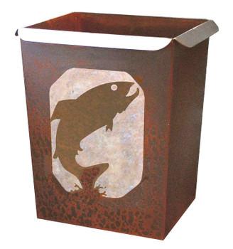 Trout Fish Metal Wastebasket Trash Can