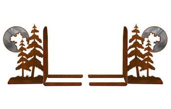 "6"" Burnished Pine Trees Metal Bookends"