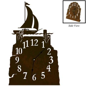 Sail Boat Metal Table Clock