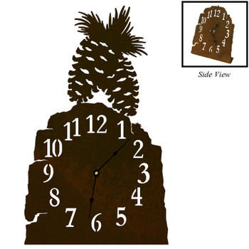 Pine Cones Metal Table Clock