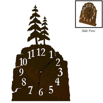 Pine Trees Metal Table Clock