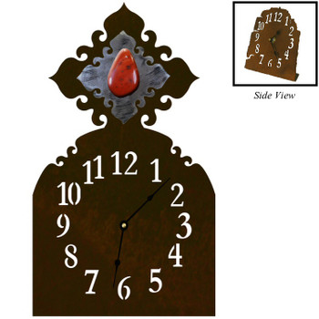 Red Jasper Stone Metal Table Clock