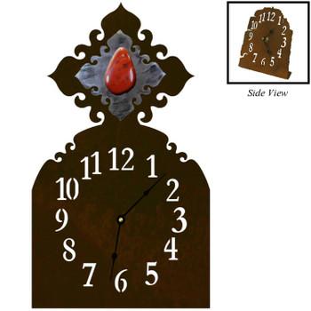 Red Jasper Stone Metal Table Clock