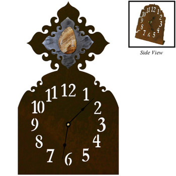 Picture Jasper Stone Metal Table Clock