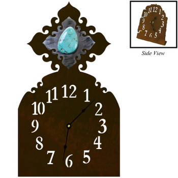 Turquoise Stone Metal Table Clock