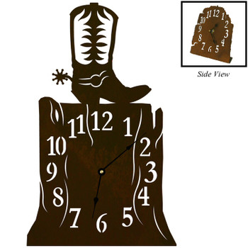 Cowboy Boot Metal Table Clock