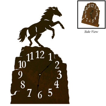 Rearing Horse Metal Table Clock