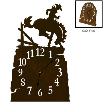 Bucking Bronco Rider Metal Table Clock