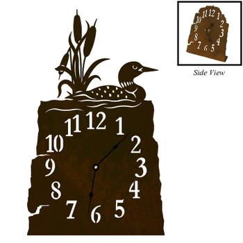 Swimming Loon Metal Table Clock