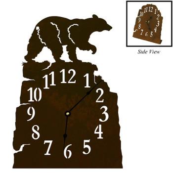 Walking Black Bear Metal Table Clock