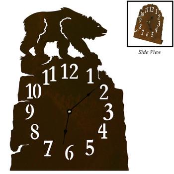 Brown Bear Metal Table Clock