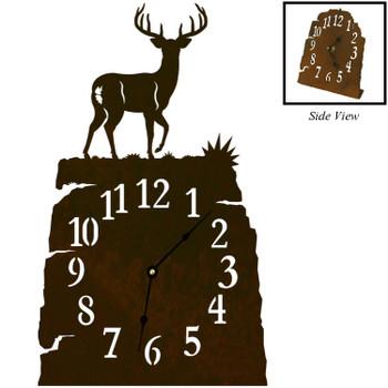 Whitetail Deer Metal Table Clock