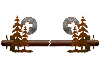 Burnished Pine Trees Metal Curtain Rod Holders