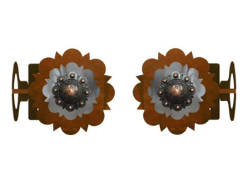Round Copper Concho Metal Curtain Rod Holders