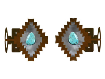 Desert Diamond with Turquoise Stone Metal Curtain Rod Holders