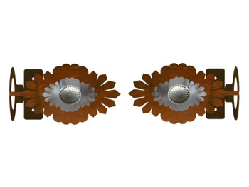 Sunburst Concho Metal Curtain Rod Holders