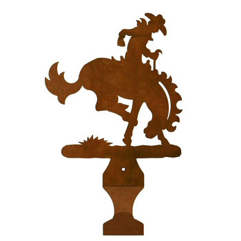 Bucking Bronco Rider Metal Drape Rod Holders