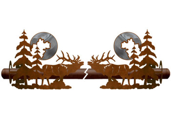Burnished Elk and Pine Trees Metal Curtain Rod Holders