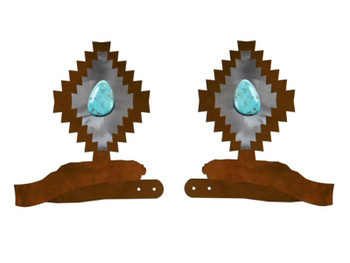 Desert Diamond with Turquoise Stone Metal Curtain Tie Backs