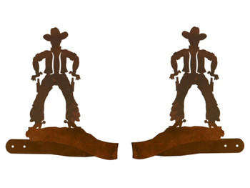 Cowboy Drawing Pistol Metal Curtain Tie Backs